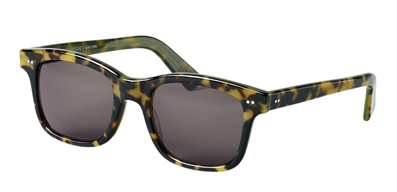Abe::Morgenthal Frederics Classic Acetate Collection.<br />Large square featuring unique paddle temples, handcrafted in France.<br />Tokyo tortoise with gray lenses.