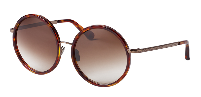 Amelia::Morgenthal Frederics Air Corps Collection.<br />Oversized round frame, featuring vintage detailing, handcrafted in Japan.<br />Copper with tortoise acetate inserts, with brown-gradient lenses.