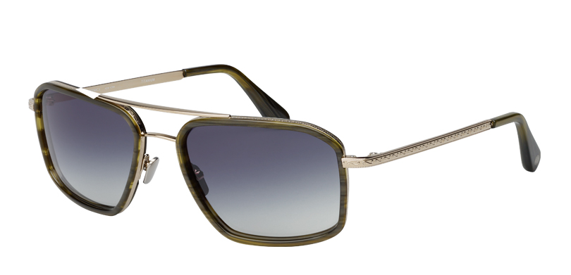 Apache Wood::Morgenthal Frederics Air Corps Collection.<br />Titanium angled navigator, featuring vintage detailing, handcrafted in Japan.<br />Gunmetal with charcoal acetate inserts, with gray gradient sun lenses.