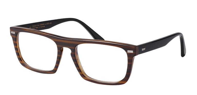 Brando::Morgenthal Frederics Buffalo Horn Collection.<br />Thick gauge rectangle featuring a key-hole bridge, handcrafted in Germany from genuine buffalo horn with metal details.<br />Brown stripes.