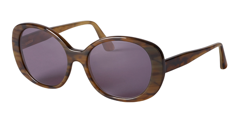 BRIGITTE::Morgenthal Frederics Sex Symbols Collection.<Br />Genuine buffalo horn, handcrafted in Germany. Oversized acetate sunglass.<br/>Brown horn, with gray lenses.