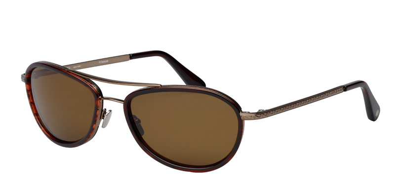 Eagle Wood::Morgenthal Frederics Air Corps Collection.<br />Titanium sleek aviator, featuring vintage detailing, handcrafted in Japan.<br />Gold with moss acetate inserts, with green gradient sun lenses.