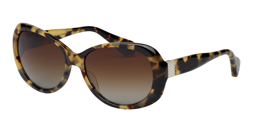Elizabeth::Morgenthal Frederics Manhattan Collection.<br />Handcrafted in Japan. Soft cat eye featuring deco inspired sterling silver accents.<br />Tortoise, with brown polarized gradient lenses.