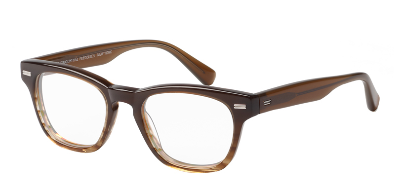 Flynn::Morgenthal Frederics Classic Actors Collection.<br />Small square featuring a key-hole bridge and metal detailing, handcrafted in Japan.<br />Brown fade.
