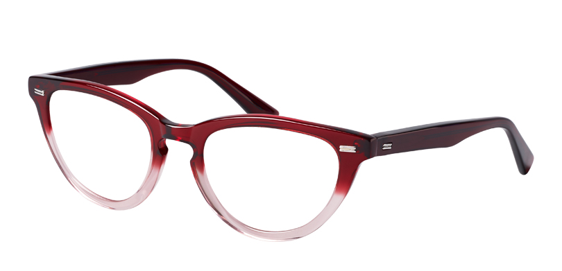 Garbo::Morgenthal Frederics Classic Actors Collection.<br />Cat-eye featuring a key-hole bridge and metal detailing, handcrafted in Japan.<br />Ruby fade.