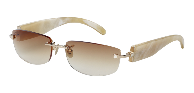 Holliday::Morgenthal Frederics Buffalo Horn Collection.<br />Handcrafted titanium fronts from Japan, with handmade buffalo horn temples from Germany. Features horn inlay temple detailing.<br/>Gold, with white buffalo horn temples and brown gradient lenses.