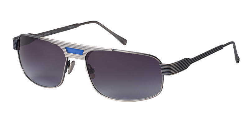 Jonny::Morgenthal Frederics Royals Collection.<br />Titanium aviator with unique groove detailing and painted bride, handcrafted in Japan.<br />Pewter, with gray gradient lenses.