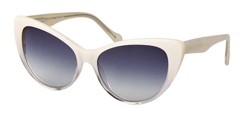 Lee::Morgenthal Frederics Classic Acetate Collection.<br />Handcrafted in Japan, large cat-eye sunglass, featuring elegant retro-fade colorations.<br />White/ Crystal fade.