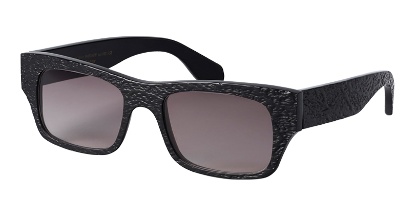 MATTHEW::Morgenthal Frederics Buffalo Horn Collection.<Br />Classic bold rectangle in pressed and textured genuine buffalo horn, handcrafted in Germany.<Br />Black horn, with gray lenses.