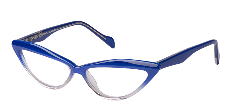 Michelle::Morgenthal Frederics Classic Acetate Collection.<br />Handcrafted in Japan, small sleek cat-eye sunglass, featuring elegant retro-fade colorations.<br />Blue/Crystal fade.