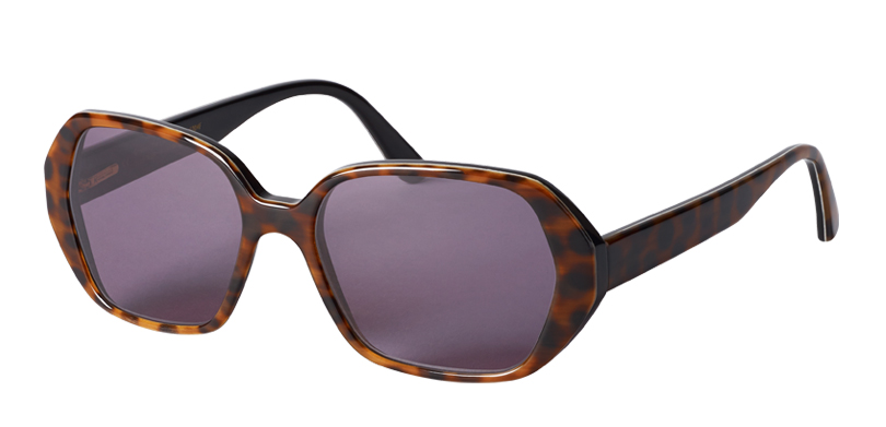 RAQUEL::Morgenthal Frederics Sex Symbols Collection.<br />Genuine buffalo horn, handcrafted in Germany. Sleek angled rectangle sunglass.<br/>Spotty horn, with gray lenses.