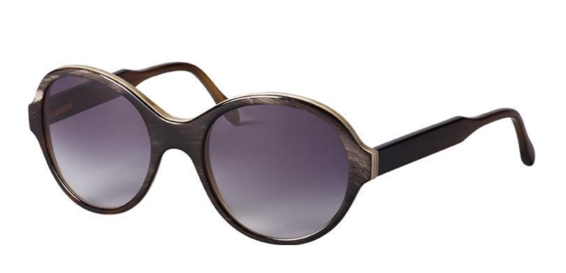 SOPHIA::Morgenthal Frederics Sex Symbols Collection.<Br />Genuine buffalo horn, handcrafted in Germany. Oversized acetate sunglass.<Br />Brown on crème, with gray gradient lenses.