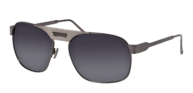 Thom::Morgenthal Frederics Royals Collection.<br />Titanium aviator with unique groove detailing and painted bride, handcrafted in Japan.<br />Gunmetal, with silver mirror lenses.